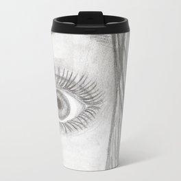 Black & White Eye Sketch Metal Travel Mug