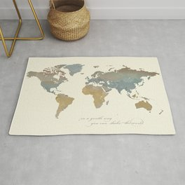 World Map with Dalai Lama Quote Rug