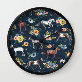 Wild Horses, Horse and Floral Print, Navy Blue, Watercolor Painting, Illustrated Horses, Flowers,  Wall Clock