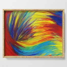 RAINBOW EXPLOSION - Vibrant Smile Happy Colorful Red Bright Blue Sunshine Yellow Abstract Painting  Serving Tray