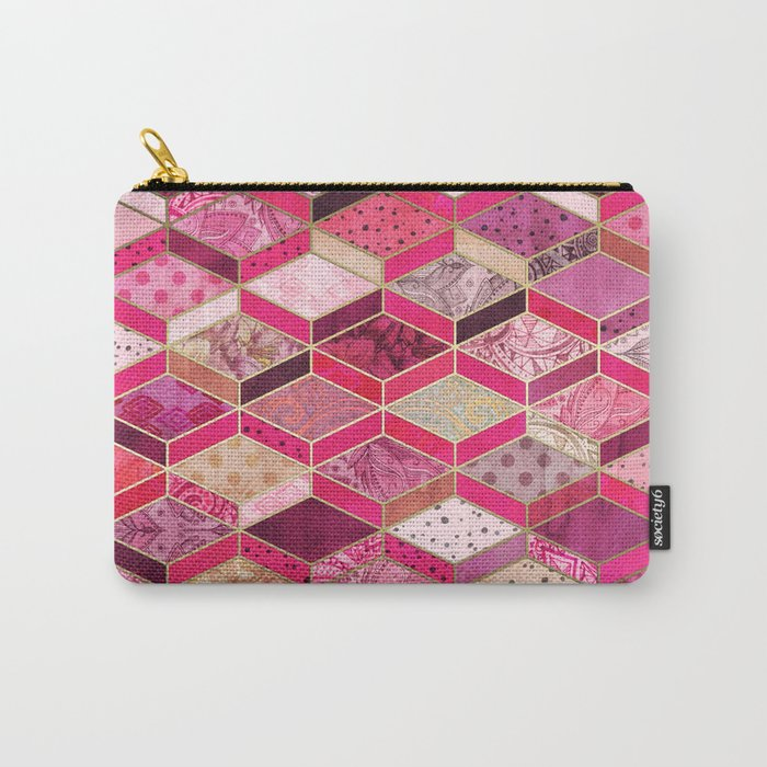 Wild Pink & Pretty Diamond Patchwork Pattern Carry-All Pouch