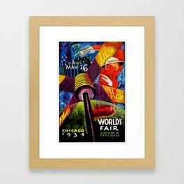 Retro 1934 Chicago World's Fair Travel Poster Framed Art Print