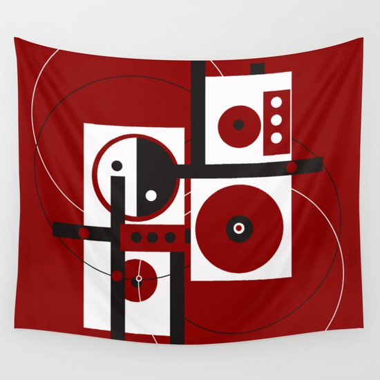 Geometric/Red-White-Black 2 Wall Tapestry