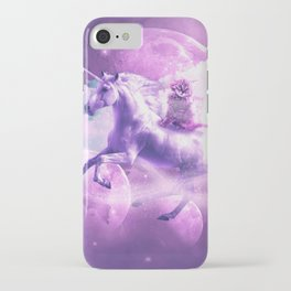 Kitty Cat Riding On Flying Space Galaxy Unicorn iPhone Case