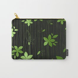 Colorful Art Deco Green Flower Pattern Carry-All Pouch