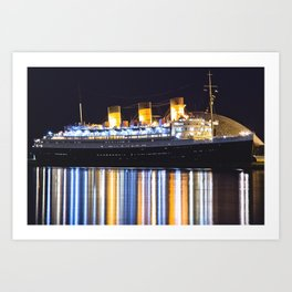 Queen Mary Ship After Dark Art Print