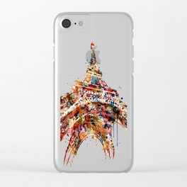 Eiffel Tower Watercolor Clear iPhone Case