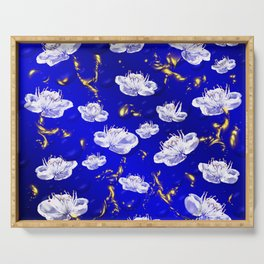 white blossom in blue and gold Digital pattern with circles and fractals artfully colored design Serving Tray