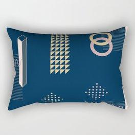 Blue Retro Abstract Rectangular Pillow