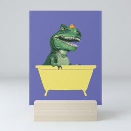 Playful T-Rex in Bathtub in Purple Mini Art Print