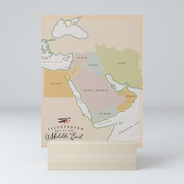Illustrated map of the Middle East Mini Art Print