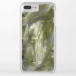 It is so Wavey Grey and Olive Green Acrylic Abstract Art Clear iPhone Case