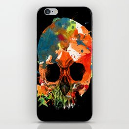 water color skull iPhone Skin