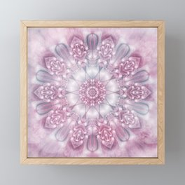 Dreams Mandala in Pink, Grey, Purple and White Framed Mini Art Print