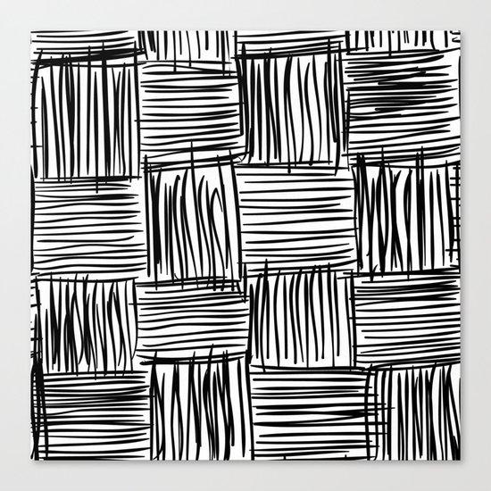 Modern Square Black on White Canvas Print
