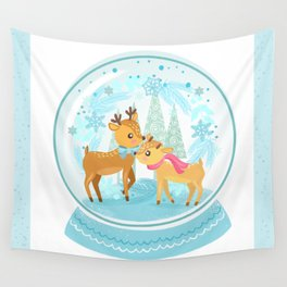 Winter Wonderland Reindeer Snow Globe Wall Tapestry
