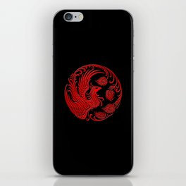 Traditional Red and Black Chinese Phoenix Circle iPhone Skin