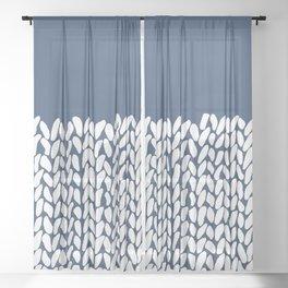 Half Knit Navy Sheer Curtain