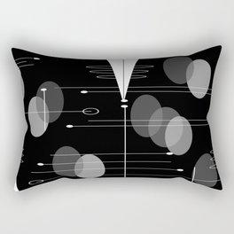 Atomic Space Age Black Rectangular Pillow