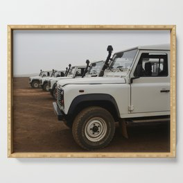 Classic Landrover Defender 3 | classic cars photography | white oldtimers Serving Tray
