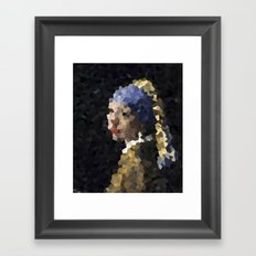 Pixelated Girl with a Pearl Earring Framed Art Print