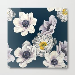 White Flower Rain Metal Print