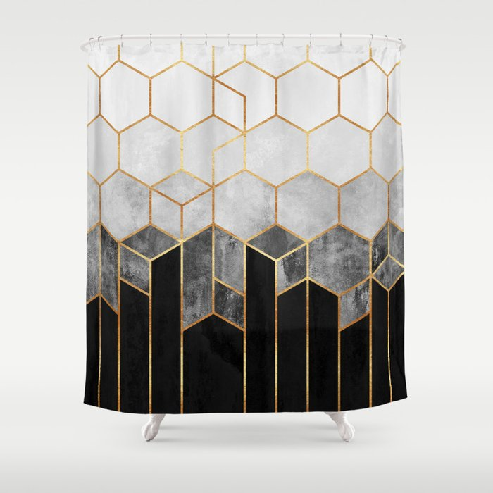 Charcoal Hexagons Shower Curtain
