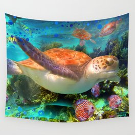 Turtles by a Reef Wall Tapestry