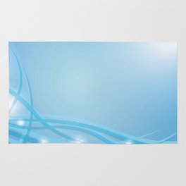 Blue background with beautiful smooth lines and lights. Lights and iridescent lines on a blue backgr Rug