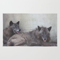 wolves Area & Throw Rugs featuring Wolves by Twilight Wolf