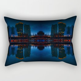 Nocturnal Reflection of a City Rectangular Pillow