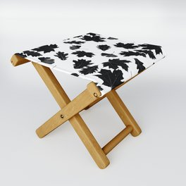 Falling Autumn Leaves in Black and White Folding Stool