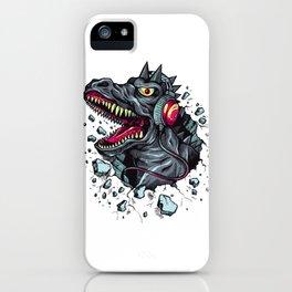 Dino with Headphones Grey Ebony Clay iPhone Case
