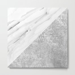 Grey / White Marble Metal Print