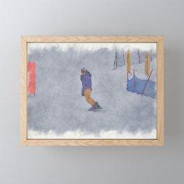Sliding into Home - Winter Snowboarder Framed Mini Art Print