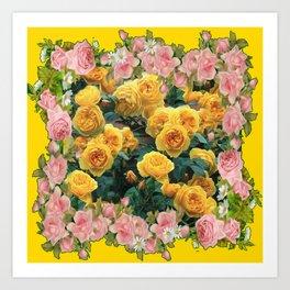 PINK & YELLOW SPRING ROSES GARDEN VIGNETTE Art Print