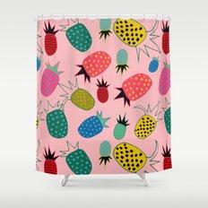 pineapple fun tropical pink Shower Curtain