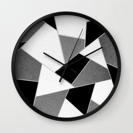 Gray Black White Geometric Glam #1 #geo #decor #art #society6 Wall Clock