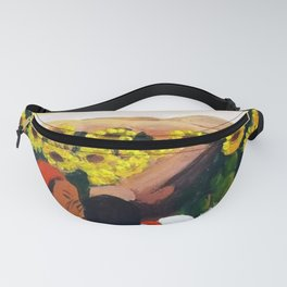 Classical Masterpiece Mexican Sunflowers 'Chismosas' floral landscape painting Fanny Pack