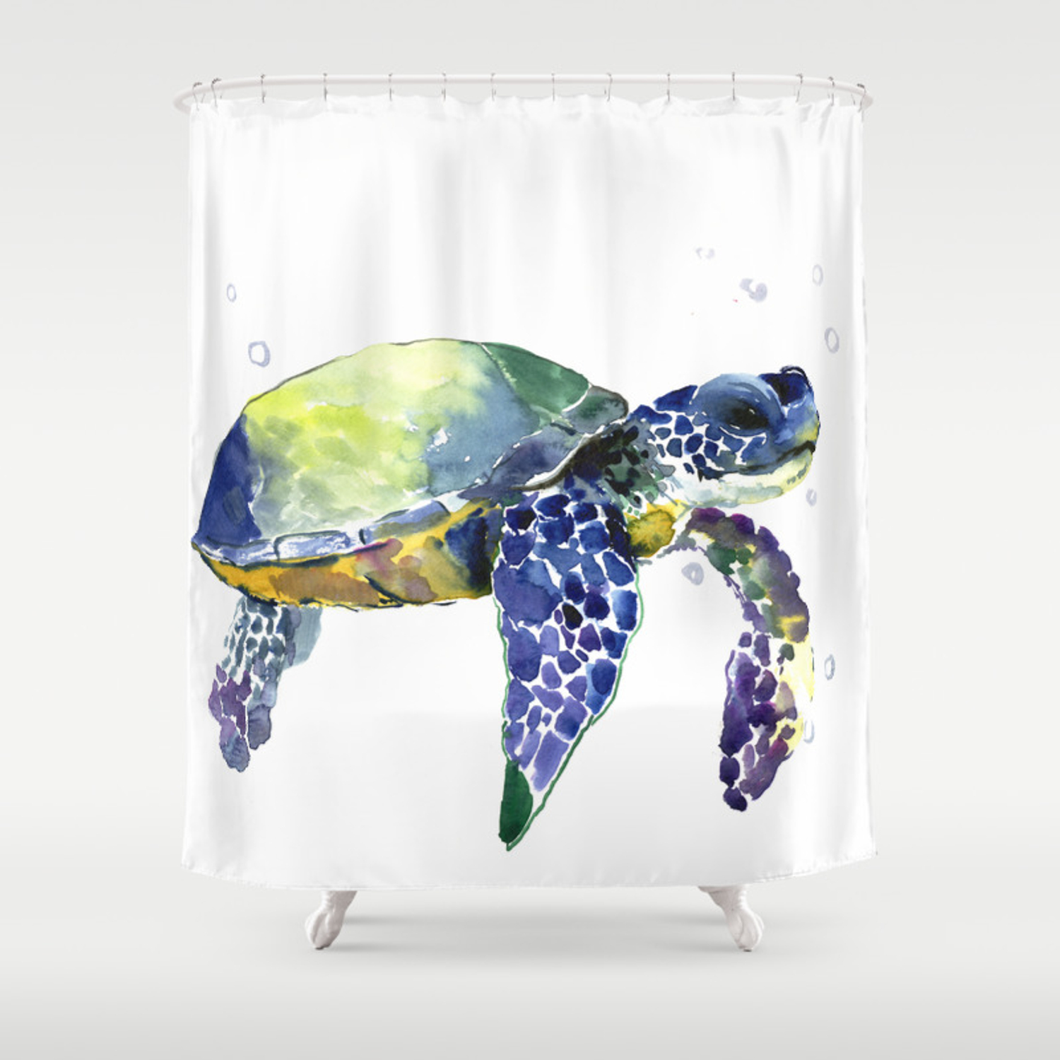 Sea Turtle Beach Art Nautical Aquatic Underwater Scene Blue Green Turtle Shower Curtain