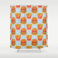 hamburger Shower Curtains featuring Hamburger and French Fries Pattern by haidishabrina
