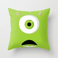 mike wrobel Throw Pillows featuring Mike Wazowski by Bearded Manatee