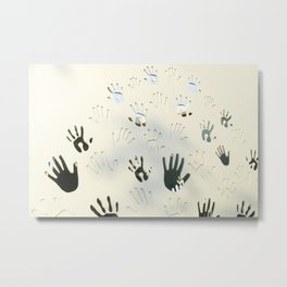 Handprints, adults and children's palms make a natural pattern on a white wooden background. The con Metal Print