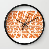 wallet Wall Clocks featuring Fight Club by elvisbr