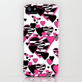 Hot Pink Zebra Animal Print Geometric Hearts iPhone Case