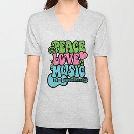Peace-Love-Music Unisex V-Neck