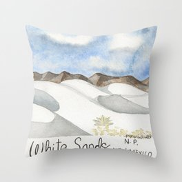 White Sands, New Mexico-National Park-Watercolor Illustration Throw Pillow