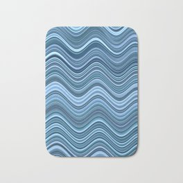 HURON - ombre waves shades of blue water abstract design Bath Mat