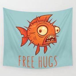 Free Hugs Cartoon Blowfish Wall Tapestry