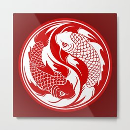 Red and White Yin Yang Koi Fish Metal Print